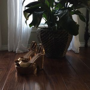 Jeffrey Campbell Rose Gold Platforms